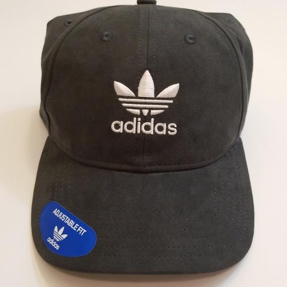 00ffe2fbf48 Adidas Dark Grey Suede Baseball Cap Dad Hat